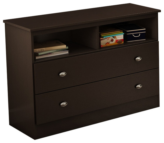Modern 2 Drawer Bedroom Storage Chest Tv Stand Chocolate