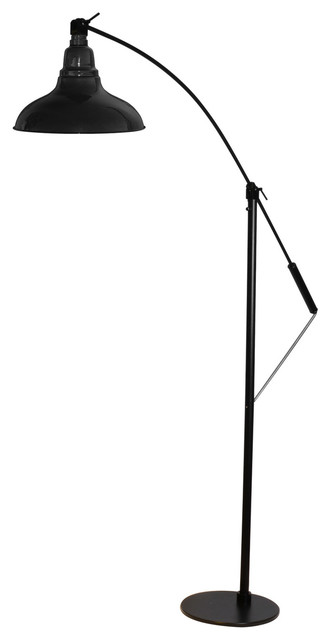 "8"" Dahlia Led Industrial Floor Lamp, Black."