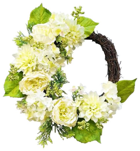 "22"" Country Chic Hydrangea Wreath."