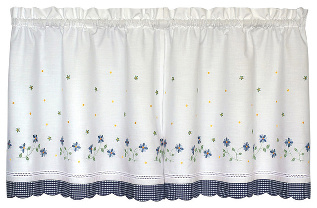 "United Curtain Co. Gingham 60""x36"" Kitchen Tier Pair, Blue."