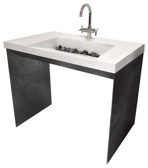 Contempo Concrete Bathroom Sink, White Linen, 1 Hole.