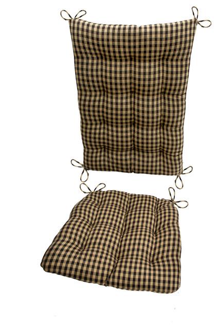 ... Black & Tan Checkered Rocking Chair Cushions, Latex Foam Fill - Seat
