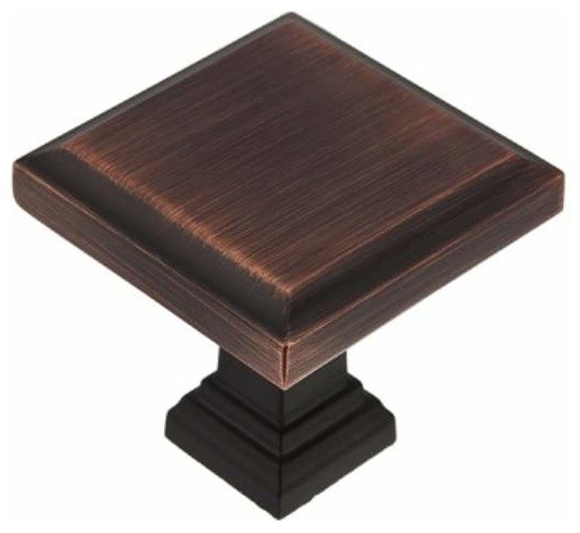 Richelieu Transitional Metal Square Knob 32mm Antique English - Contemporary - Cabinet And ...