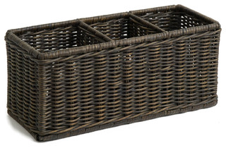 The basket lady wicker divided organization basket reviews houzz - Divided wicker basket ...