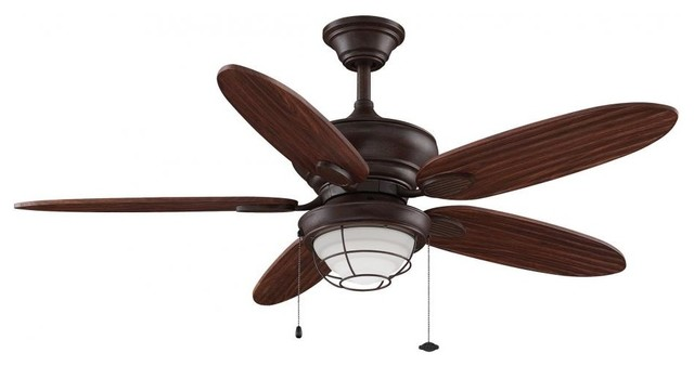 Kaya Fan With Cherry Bronze Blade And Opal Frosted Glass.