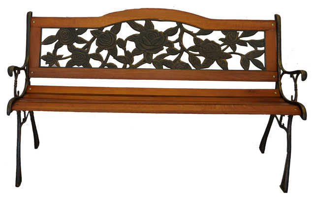 Rose Bloom Cast Iron Park Bench, Resin Back Insert, V2 Traditional Outdoor