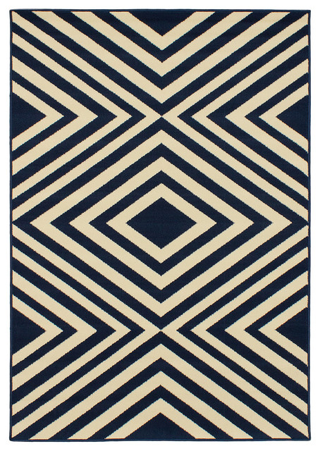 Los angeles cream dark navy rug 5 39 3 x 7 39 6 1 for Modern rugs los angeles