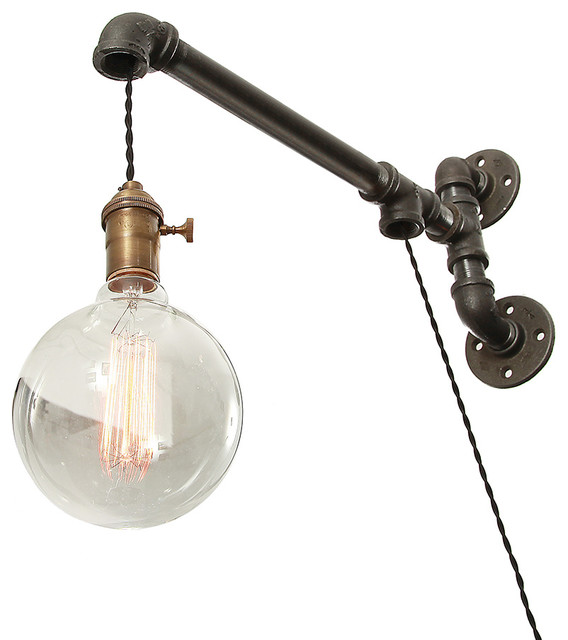 Not On The High Street Industrial Wall Light : Industrial Pipe Suspended Wall Light - Industrial - Wall Sconces - by West Ninth Vintage