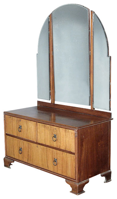 Antique Art Deco Walnut Tri Fold Mirror Dresser Traditional