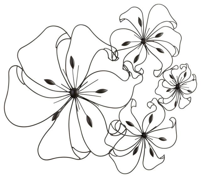 Metal Flowers Wall Art cyan design 05832 fancy flower wall art, graphite - contemporary