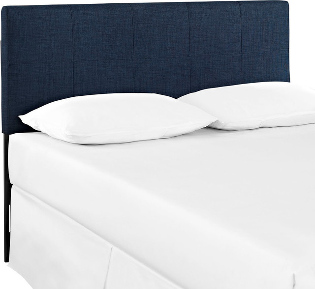 Oliver Queen Upholstered Fabric Headboard, Navy.