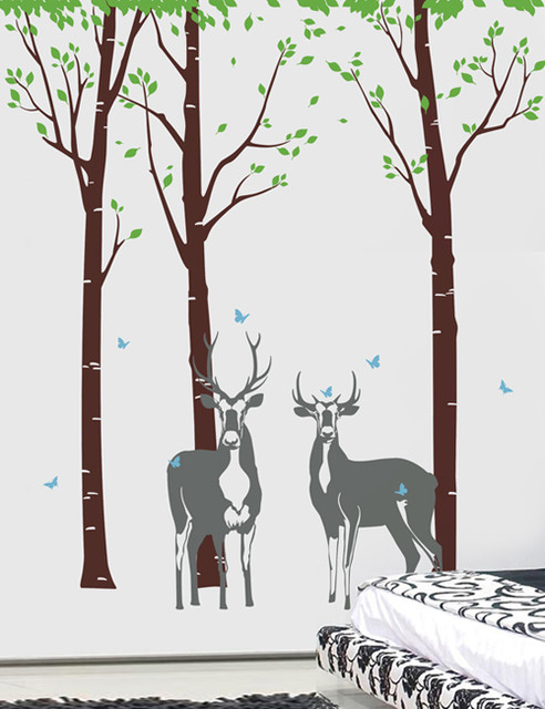 Beau Tree Forest With Deer, Wall Decal, Dark Brown Modern Wall Decals
