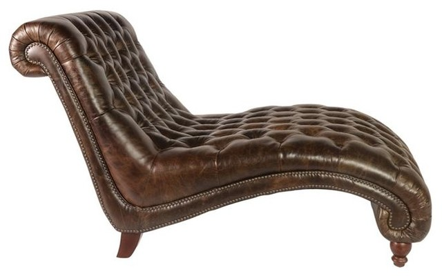 Lazzaro Cathay Leather Chaise U0026 Half, Brompton Chocolate Traditional Indoor  Chaise Lounge