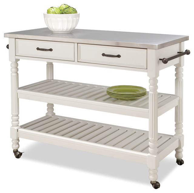 Home Styles Savannah Stainless Steel Top Kitchen Cart in White on