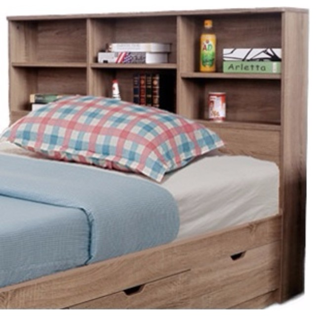 Contemporary Twin Size Bookcase Headboard With 6 Shelves..