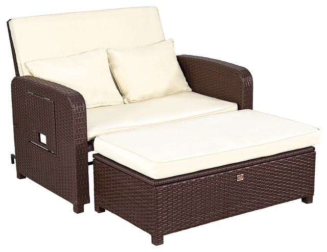 Rattan Wicker Loveseat Sofa Daybed Patio Furniture Lounge Chair, 2 Piece Set