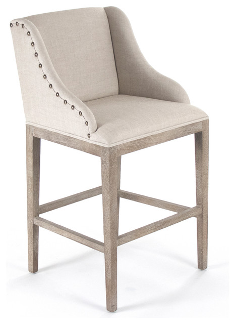 Corneille French Country Limed Oak Linen Bar Stool traditional bar stools and
