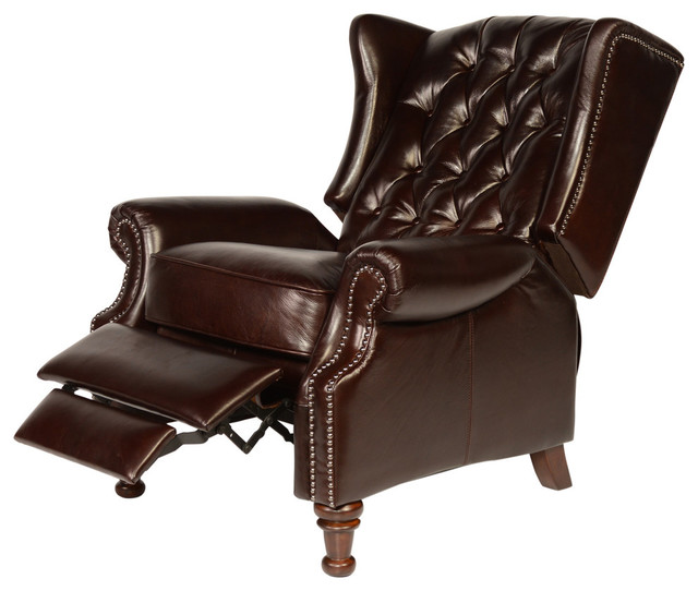 Lazzaro Leather Francis Tufted Wing Back Recliner Traditional Recliner  Chairs