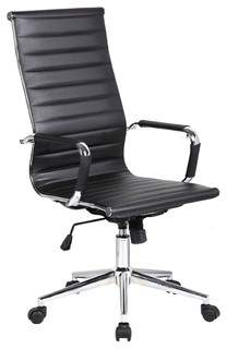 Executive Ergonomic High Back Office Chair Ribbed PU Leather   Contemporary    Office Chairs   By Daniel Ng