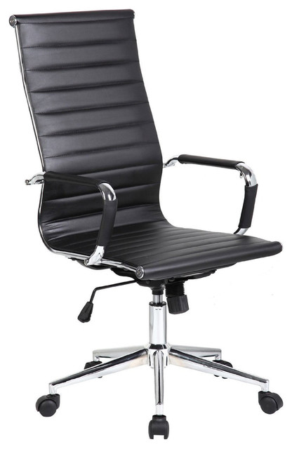 executive ergonomic high back office chair ribbed pu leather