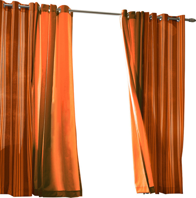 "Outdoor Stripe Grommet Top Curtain Panel, Orange, 50""x84""."