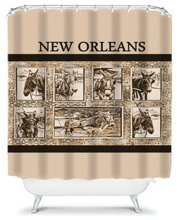New Orleans Mules Sepia Shower Curtain Eclectic Curtains By Gifts The Beach