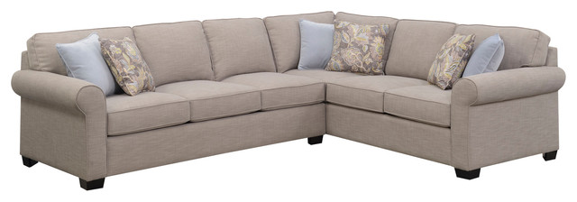 Emerald Home Angelica 2 Piece Sleeper Sectional, Off White