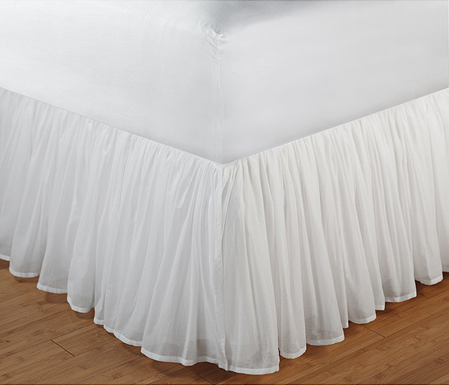 White Gathered Cotton Voile 18 Inch Drop Bedskirt With Polyester Liner