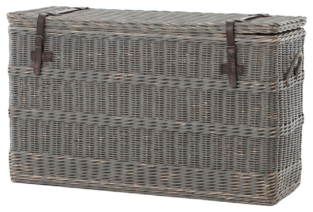 Florin Rustic Lodge Gray Leather Strap Wicker Trunk Tropical Decorative Trunks