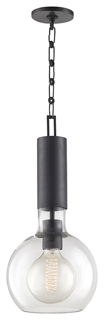 Raleigh 1-Light Small Pendant, Old Bronze Finish, Clear Glass Shade.