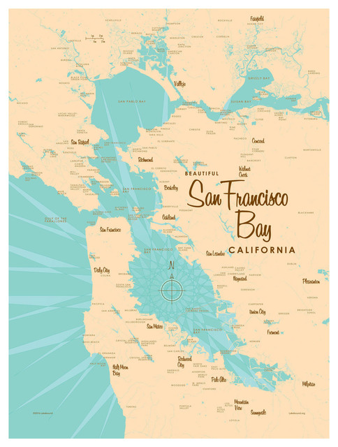 Lakebound San Francisco Bay California Map Art Print, 9