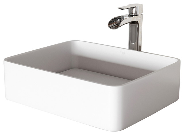 Vigo Jasmine Matte Stone Vessel Bathroom Sink With Niko Vessel Faucet, Chrome.