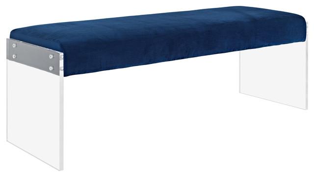 Roam Velvet Bench, Blue.