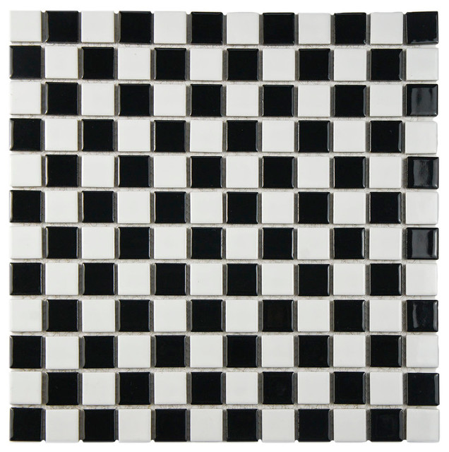"SomerTile 13""x13"" Tartan Square Mini Checkerboard Porcelain Mosaic Tile"