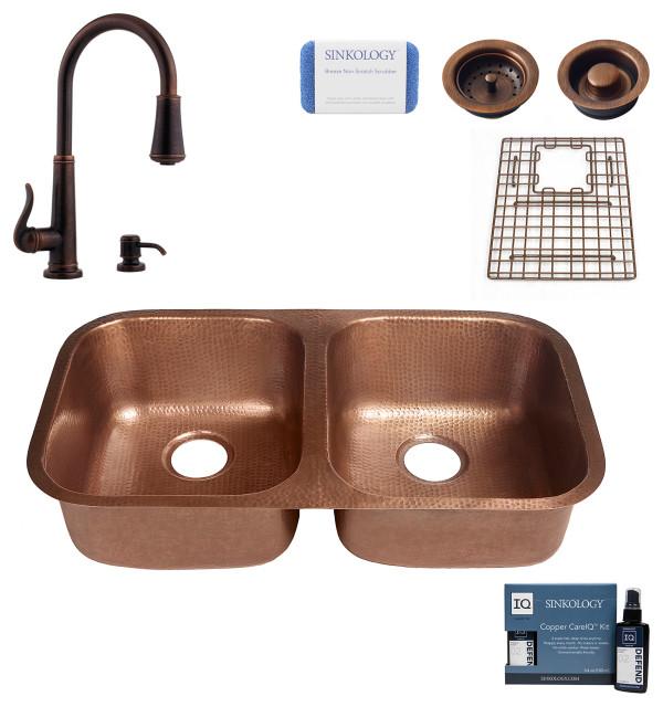 "Kandinsky 32.25"" Undermount Copper Kitchen Sink, Ashfield Faucet and Drains"