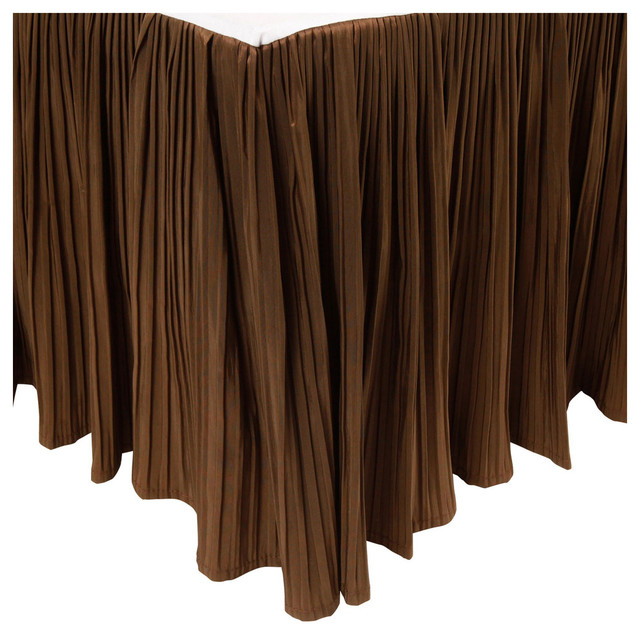 "18"" Pleated Bed Skirt, Chocolate, Queen"