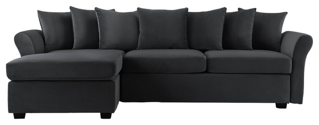 Modern Velvet Sectional Sofa, Large L-Shape Couch with ...