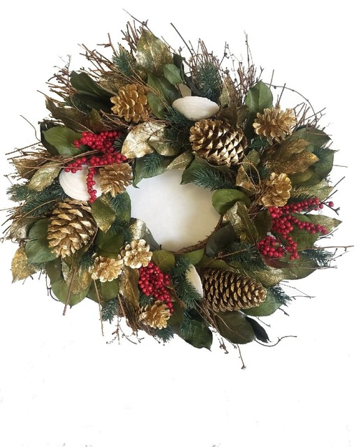 Golden Shores Preserved Holiday Beach Wreath.