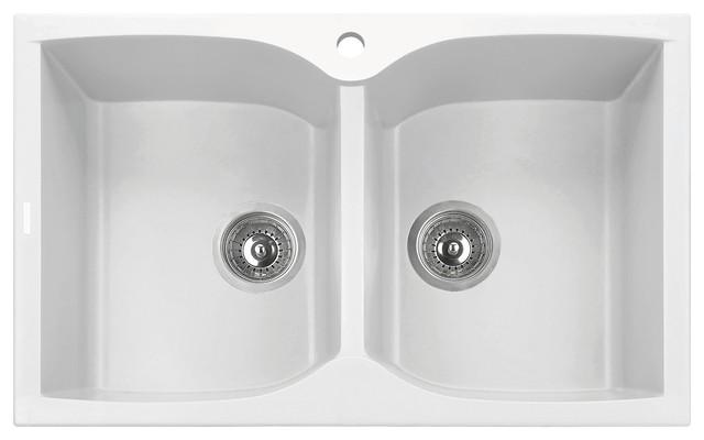 Alfi Brand Ab3220di W White 32 Drop In Double Bowl Granite Kitchen Sink