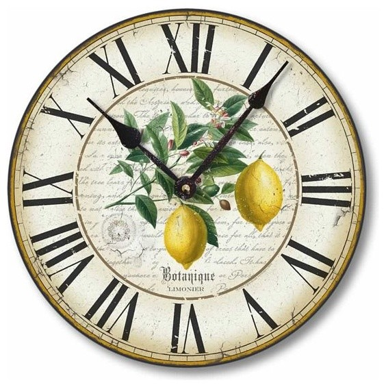 Vintage Style 12 Inch Lemon Clock Traditional Wall