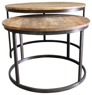 Wooden Nesting Center Table Set of 2