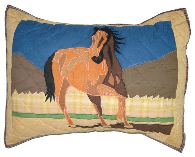 Southwestern Pillow Shams : Wild Horses Pillow Sham 27