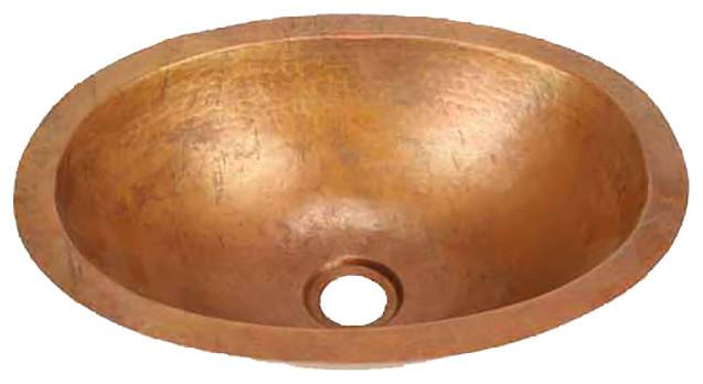 Oval Copper Bath Sink, Small, Matte Copper.