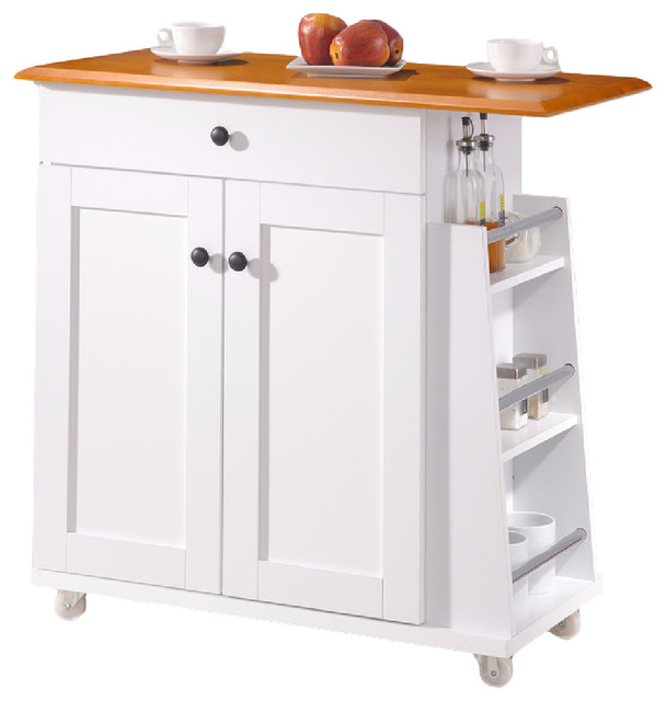 Balmore 2 Tone White And Dark Brown Lacquered Wood Kitchen Cart Trolley  Beach Style