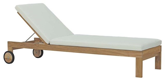 Upland Outdoor Teak Wood Chaise, Natural White