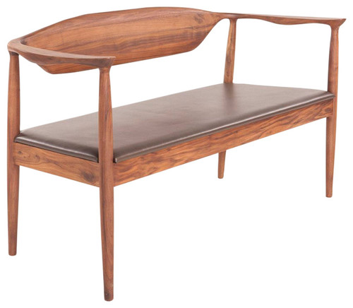 Larson Walnut and Leather Bench