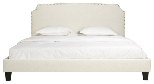 Edith Beige Upholstered Panel Bed With Headboard And Nailhead Trim, Queen, King.