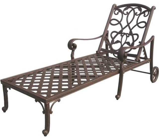 Bowery Hill Patio Chaise Lounge, Antique Bronze.