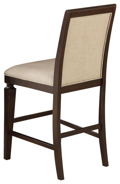 Enjoyable Acme Agatha Counter Height Chairs Set Of 2 Linen And Espresso Uwap Interior Chair Design Uwaporg