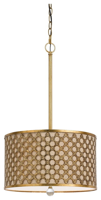 Fairview Three Light Pendant French Gold Natural Linen Shade